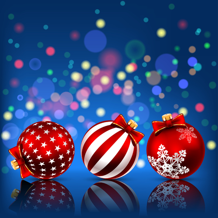 new ball: Red Christmas Balls on Holiday Background. Illustration vector Illustration