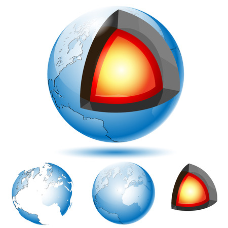 geological: Earth Core Structure with Geological layers. Set icons. Illustration Vector eps10