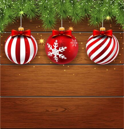 clipart: Decorations Christmas balls and pine branches on a wooden background. Illustration.