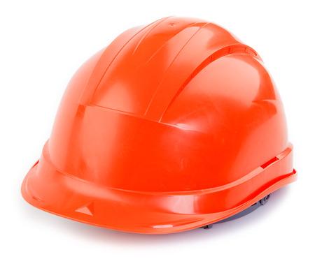 red hat: Orange plastic construction Helmet on a white background Stock Photo