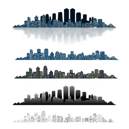 city background: Modern Urban City Isolated on White background. Set Icon.