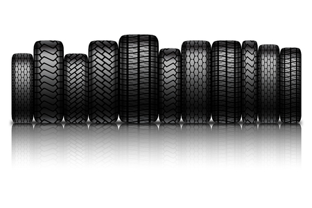 retreading: Car tires isolated on white background.