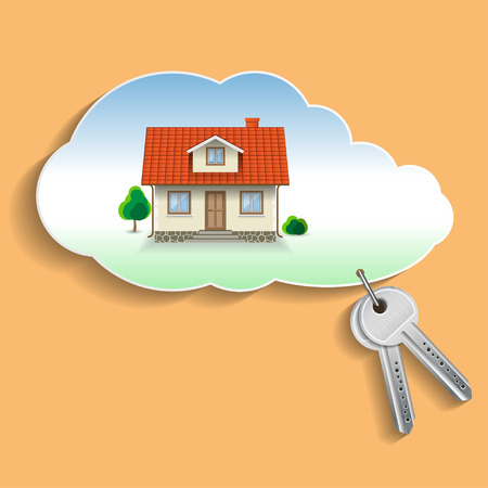 private cloud: Private House in the Cloud with the Keys. Business Concept, Credit, Security. Illustration