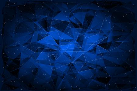 azul: Poligonal abstracto sobre fondo oscuro, ilustración geométrica. Vectores