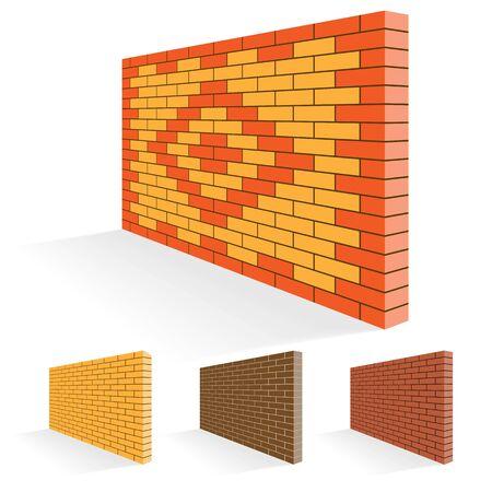 Brick wall of facing bricks. Illustration Set. Ilustração Vetorial