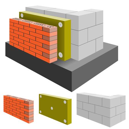 절연을 가진 집의 벽돌 벽, 컷. 배열 건설.