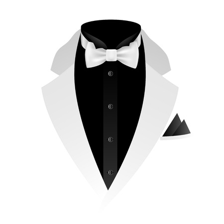 Illustration of tuxedo with bow tie on white background.