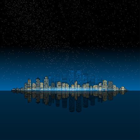 beach panorama: Night modern city on the ocean.  Urban night landscape. Illustration