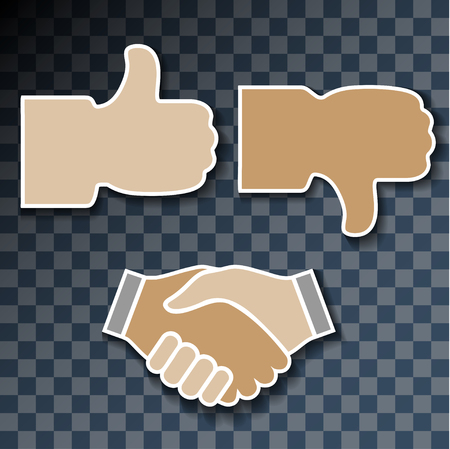 good bad: Icon hand. Signs with his hands, good, bad, handshake on transparent background. Illustration