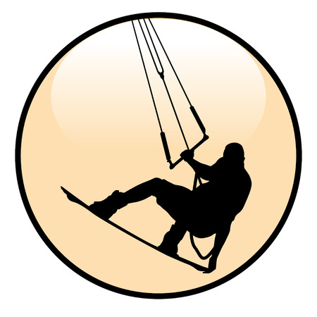 kite surfing: Kite boarding Rider Icon isolated on white background. Illustration .