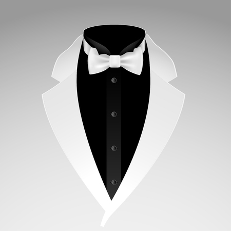 dressy: Illustration of tuxedo with bow tie on grey background