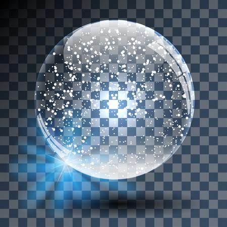透明な背景に空の雪に覆われたガラス玉。イラスト。