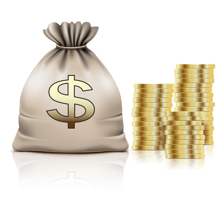 dollar sign icon: Golden Coins and Bag with the Money and on white background. Dollar Sign, Icon. Illustration