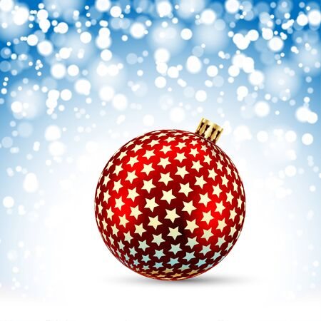 Christmas Red Ball on snowfall background. Illustration Vector Illustration
