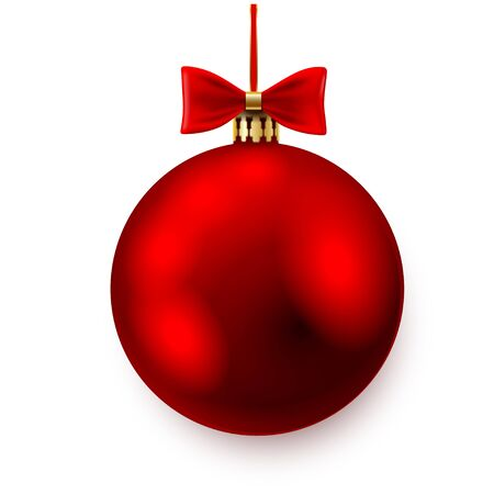 moños de navidad: Red christmas ball with bows on white background. Vector illustration.