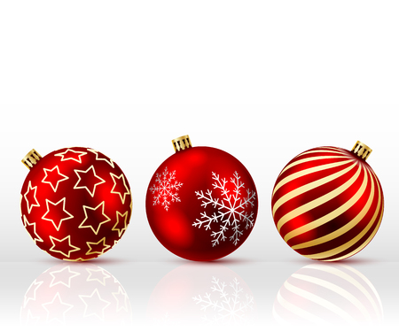 bowknot: Three Red Christmas Balls on white background. Vector illustration.