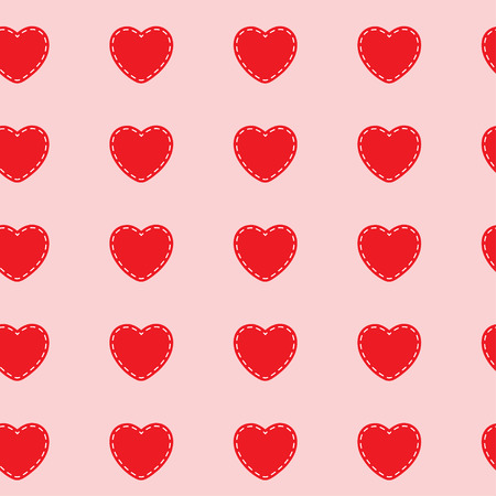 Red Hearts Stitched white on a pink background. Abstract seamless pattern. Vector illustration. Illustration