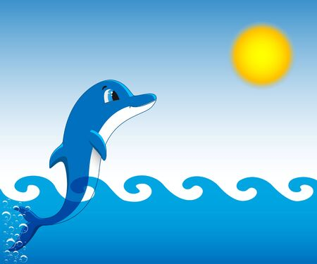 floating: Dolphin who is jumping out of sea water against the blue sky and the sun. Vector illustration.