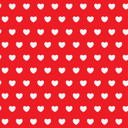 heart month: White Hearts on a red background. Abstract seamless pattern. Vector illustration.