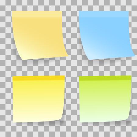 coloured background: Coloured Sticky Notes on Transparent background. Vector illustration.