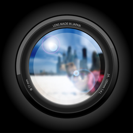 pretty eyes: Urban Landscape with a Beach and a Camel in the background of the City. View of the Lens. Illustration vector.