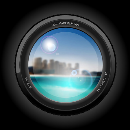 telephoto: view Lens, beautiful Cityscape to the Beach. Illustration vector. Illustration