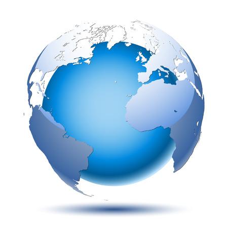 Planeta tierra sobre un fondo blanco. Icono abstracto Ilustración vectorial