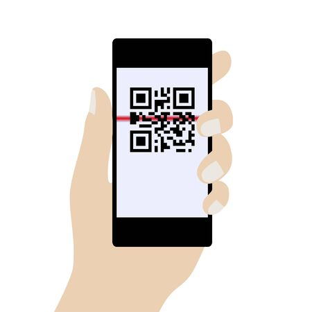 scanned: Phone in Hand, Scanning QR Code. Concept Identification of Information. Vector illustration. Illustration