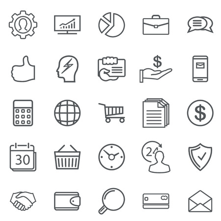 Business Abstract line Icons. Modern Web Collection Isolated on white background. Illustration. Vector