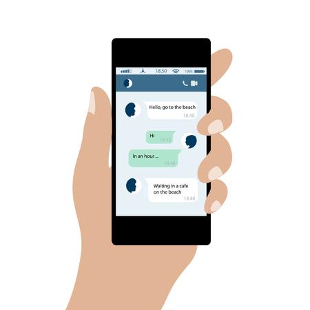 Hand hält Handy. Social Network Konzept. Nachrichten im Chat von Social Networks von Internet. Vektor-Illustration