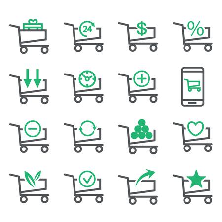 Stellen Sie den Warenkorb ein, der auf weißem Hintergrund lokalisiert wird. Business-Konzept-Optionen. Vektor-Linie-Icons. Illustration.