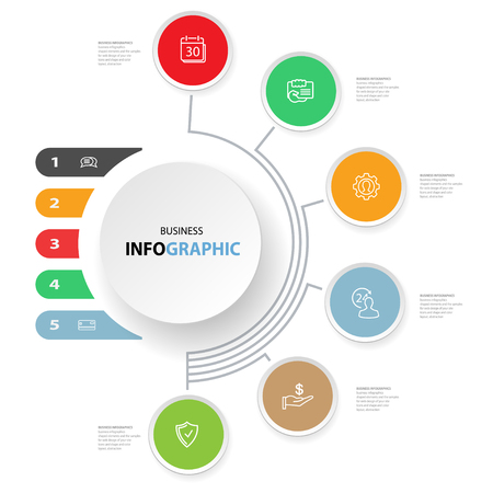 Infografiken Design Marketing Icons für Layout, Diagramm, Jahresbericht, Web-Design. Business-Konzept-Optionen. Illustration