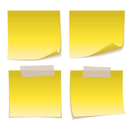 Yellow Sticky Note with Adhesive Tape isolated on white background. Verctor illustration Illustration