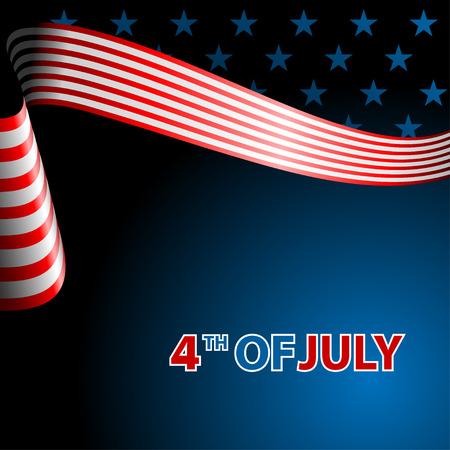 Juli-Vierte, Unabhängigkeitstag Fliegende Flagge der USA; Vektor-Illustration