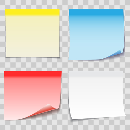 Colored Paper Sticky Note with Adhesive Tape isolated on transparent background, Vector illustration