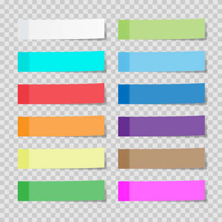 Set of paper sheets or sticky stickers isolated on a transparent background, Vector  illustration