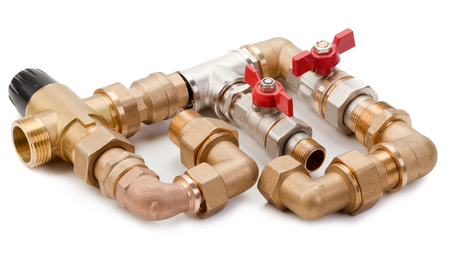 Set plumbing fittings, water tap and thermostaton, connection to the pipeline on a white background