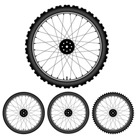 自転車ホイールの黒いシルエット。自転車タイヤのアイコンを設定します。イラスト。