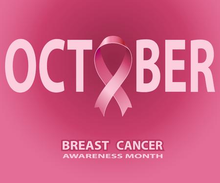 Rosa Band Oktobers, Brustkrebs-Bewusstseins-Symbol, auf rotem Hintergrund. Vektor-Illustration