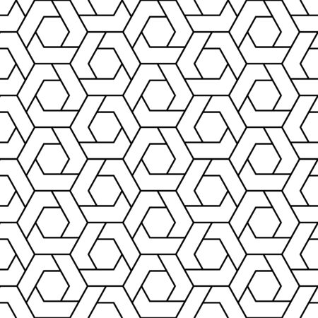 Geometric Seamless Pattern of Lines and Repeating shapes on a white background. Vector illustration Illustration