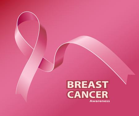 Icon Pink Ribbon, Breast Cancer Awareness Symbol, on red background. Vector illustration Illustration