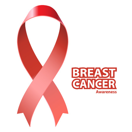 Symbol Breast Cancer Awareness. Icon Pink Ribbon, isolated on white. Vector illustration