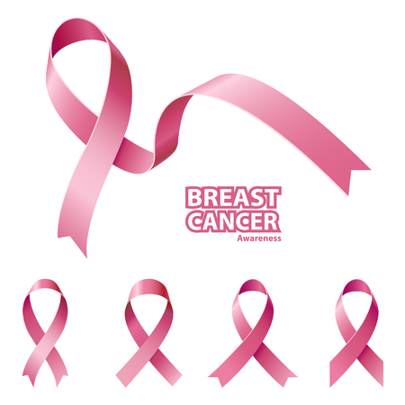 Icon Pink Ribbon, Breast Cancer Awareness Symbol, isolated on white. Vector illustration