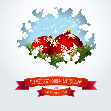 Christmas card with Balls, pine branches and winter Snowflakes, red Ribbon with congratulation text New Year. Vector illustration