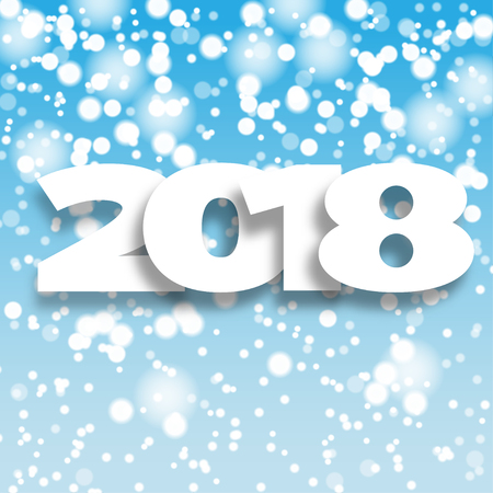 Happy New Year 2018 blue background. Greeting card design template snowflake . Vector illustration.  Illustration