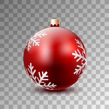 Weihnachtsroter Ball verziert mit Winter-Schneeflocken auf einem transparenten Hintergrund. Vektor-Illustration.