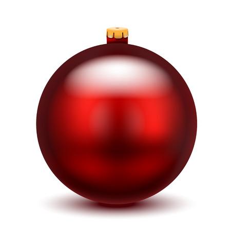 Weihnachtsroter Ball auf weißem Hintergrund. Vektor-Illustration.