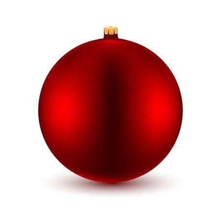Feiertags-Ikone. Roter Weihnachtsball auf weißem Hintergrund. Vektor-Illustration.