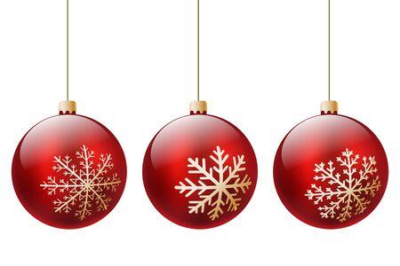 drei rote Weihnachtskugel verziert mit Winter-goldenen Schneeflocken auf einem weißen Hintergrund. Vektor-Illustration. Illustration