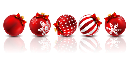 Five red Christmas ball decorated with Winter Snowflakes on a white background. Vector illustration.